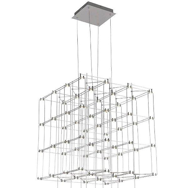 PENDENTE Bella JJ007 SKY Quadrado Moderno Aramado Cromado Transparente 58cm x 55cm x 58cm  64 x LED 0,2W