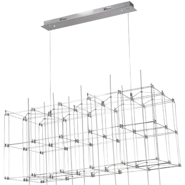 PENDENTE Bella JJ008 SKY Retangular Moderno Aramado Cromado Transparente 91cm x 41cm x 40cm  54 x LED 0,2W