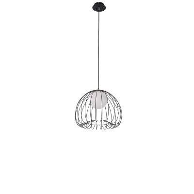 PENDENTE Bella ML005B LAMP Aramado Preto Branco 50cm x 41cm  1xG9 BIVOLT