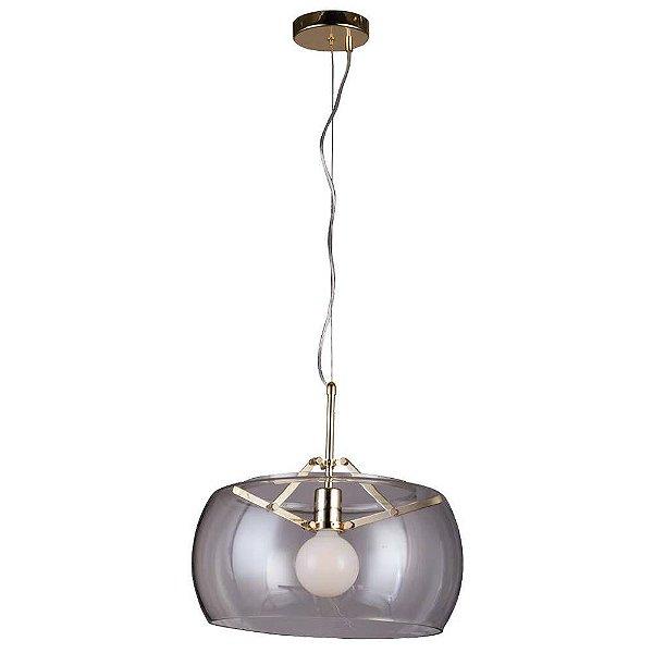 PENDENTE Bella RE004GC NOBU Cupula Redonda Vidro Dourado Transparente 40cm x 31cm  1xA60 40W FRENCH