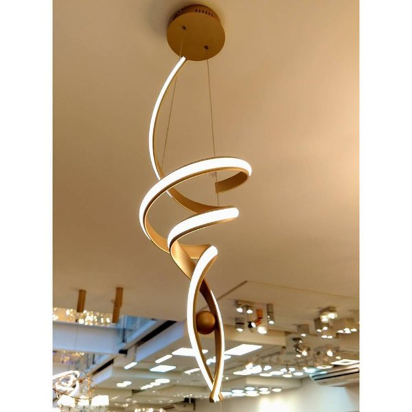 PENDENTE Bella RE005 FLUIRE Hastes de Led Moderno DOURADO 28cm x 74cm  LED 30 W