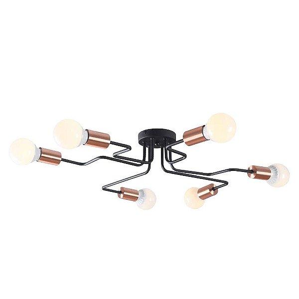 PLAFON Bella XN010M NYURON Hastes Lampada Filamento Cobre Preto 68cm x 59cm x 12cm  6 x A60 40W
