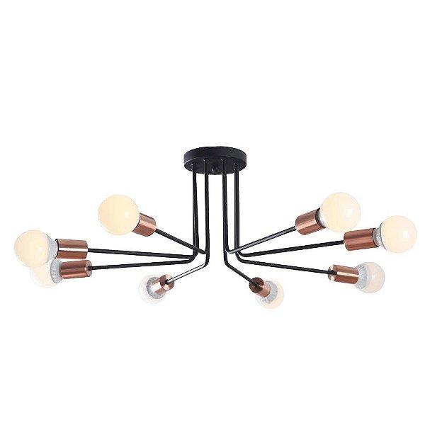 PLAFON Bella XN011L NYURON Hastes Lampada Filamento Cobre Preto 77cm x 27cm  8 x A60 40W