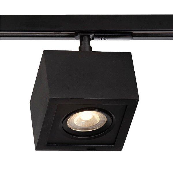 Spot Trilho Newline 561AP BOX LED Quadrado Clean 5W 3000K Luz Quente 375LM 127/220V 115X115X114MM ADAPTADOR PRETO