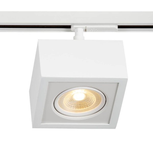 Spot Trilho Newline 562AB BOX LED Quadrado Clean 7W 3000K Luz Quente 525LM 127/220V 125X125X114MM ADAPTADOR BRANCO