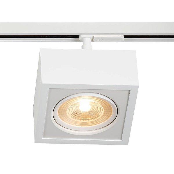 Spot Trilho Newline 563AB BOX LED Quadrado Clean 12W 3000K Luz Quente 900LM 127/220V 150X150X114MM ADAPTADOR BRANCO