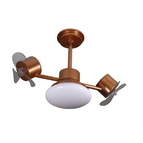 Ventilador De Teto Treviso TRV103 Duplo Com Luminaria Infinity Plus Cobre Com Controle