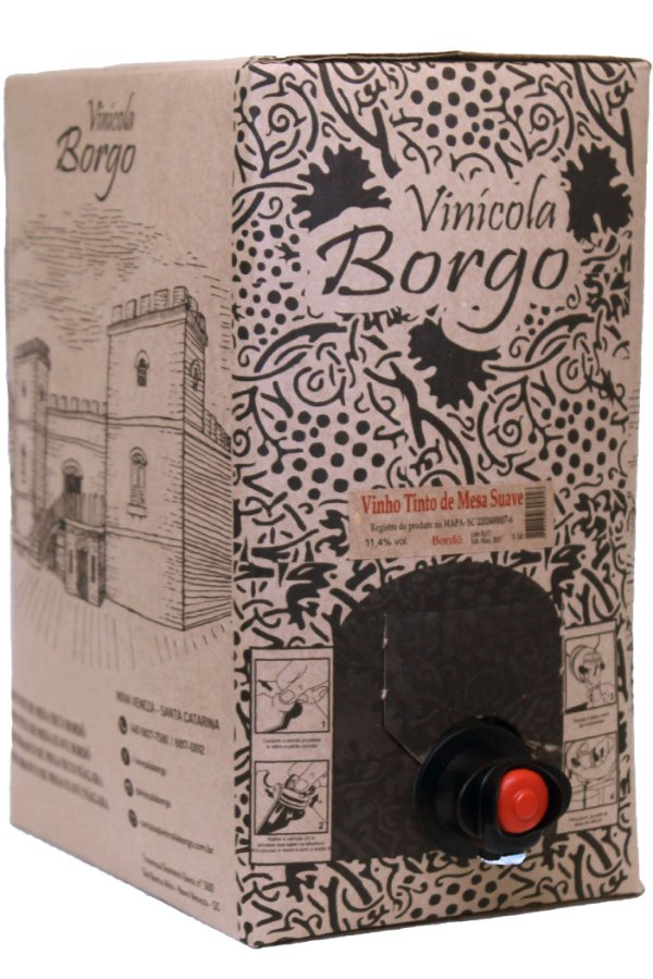 Vinho Tinto Suave Bordô 5L Bag-in-Box