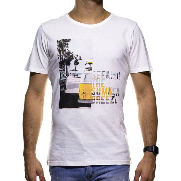 Camiseta de Malha Urbô Branca Kombi