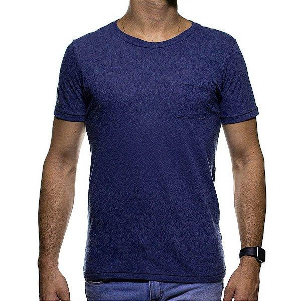 Camiseta de Malha Urbô Azul Basica com Bolso