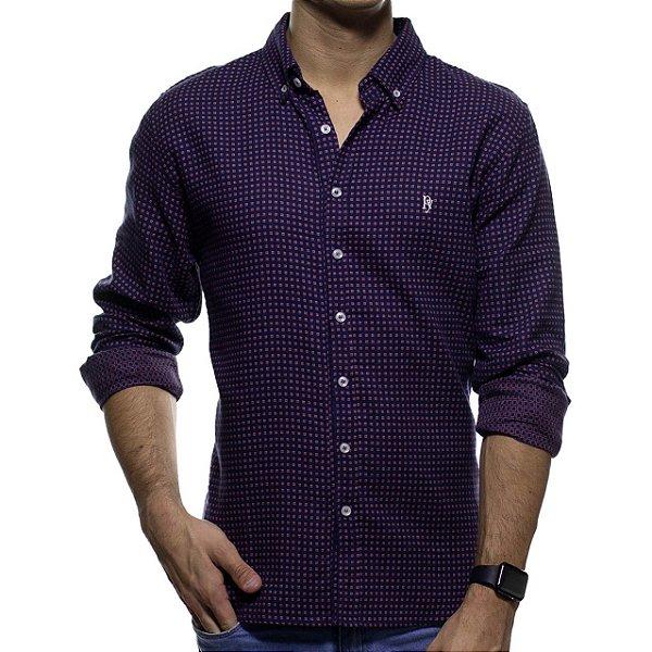 Camisa Social Purple Yellow Xadrez Roxa Casual Fit