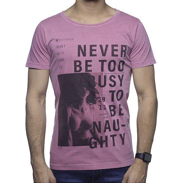 Camiseta Malha Purple Yellow Never Be Too Busy Rosa Distonado