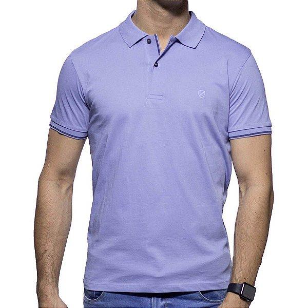 Camisa Polo Richards Roxa com Marinho na Gola