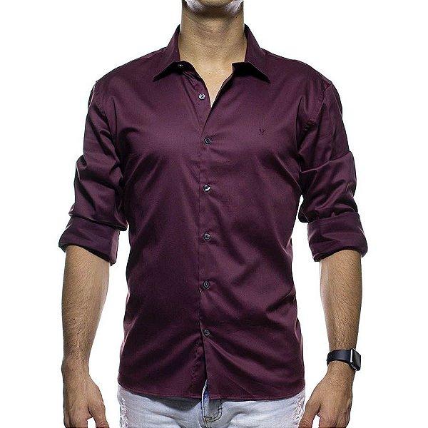 Camisa Social VR Vinho Slim Fit