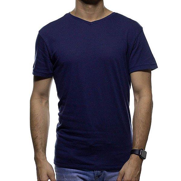 Camiseta de Malha Foxton Marinho Gola V