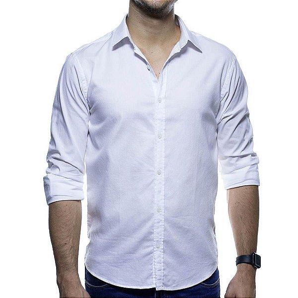 Camisa Social Foxton Piquet Branco Casual Fit