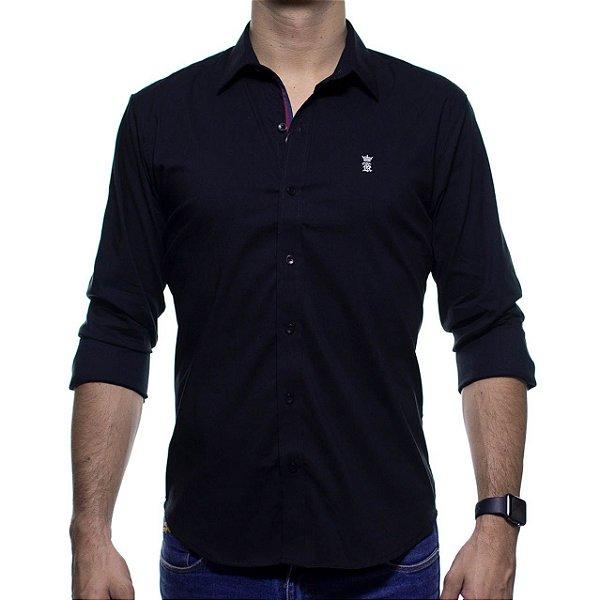 Camisa Social Sergio K Preta Lisa com Símbolo Branco Slim Fit