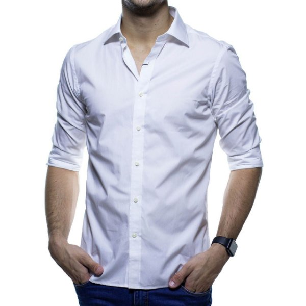Camisa Social Richards Branca Lisa Casual Fit