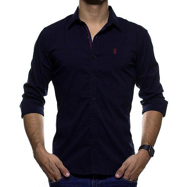 Camisa Social Sergio K Marinho com Detalhes de Faixas Azul e Vermelha Slim Fit