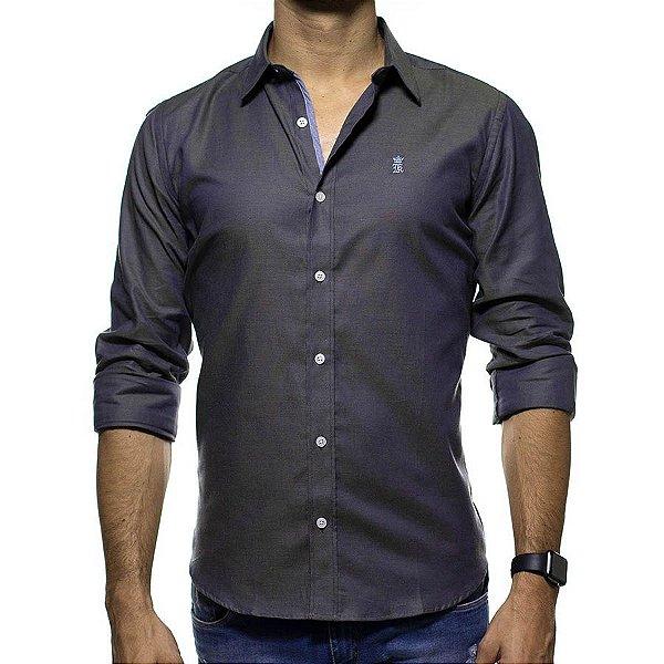 Camisa Social Sergio K Cinza com Detalhe nas Costas Regular Fit