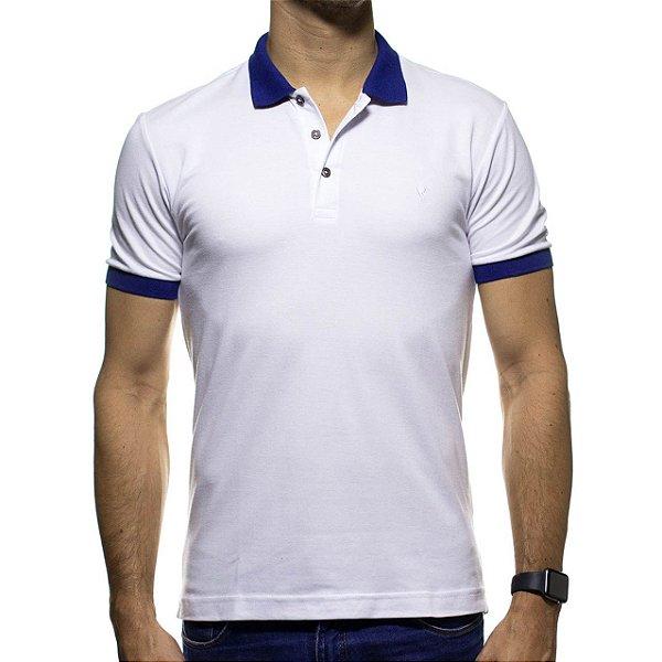 Camisa Polo VR Branca com Detalhe em Azul