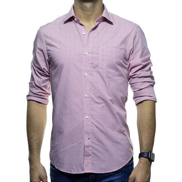 Camisa Social Richards Com Bolso Xadrez Vermelho Casual