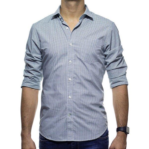 Camisa Social Richards Com Bolso Xadrez Verde Casual