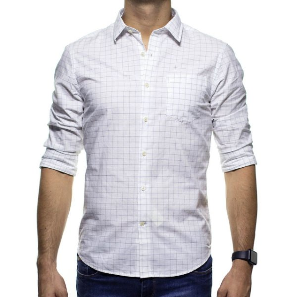 Camisa Social Richards Com Bolso Xardez Branca Casual