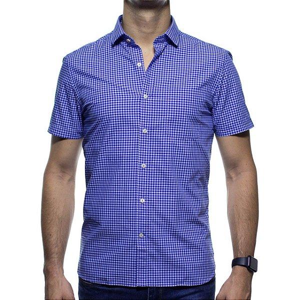 Camisa Social Richards Manga Curta Com Bolso Xadrez Azul Regular Fit