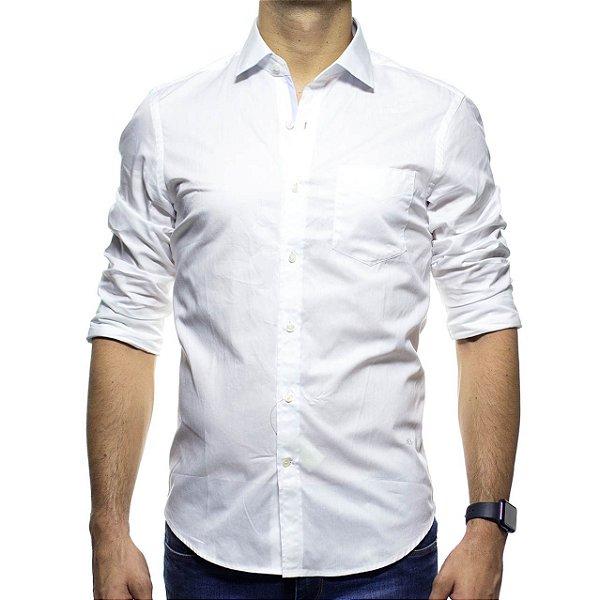 Camisa Social Richards Branca Lisa Com Bolso Regular Fit