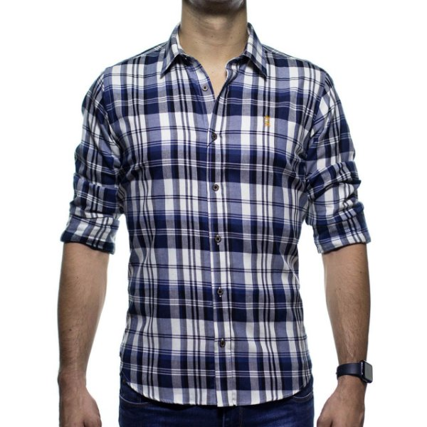 Camisa Social Sergio K Xadrez Madras Azul Regular Fit