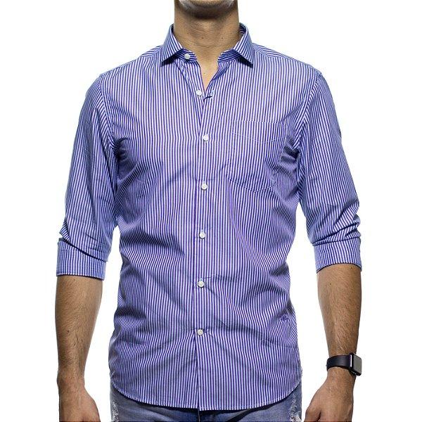 Camisa Social Richards Com Bolso Listrada Lilas Regular Fit