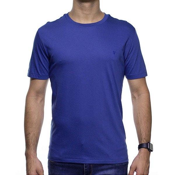 Camiseta de Malha VR Azul Básica em Algodão Pima