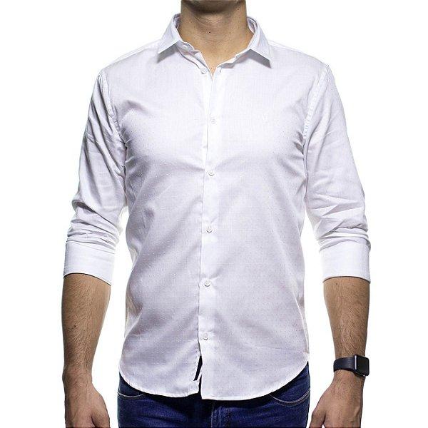 Camisa Social King e Joe Branca Detalhada