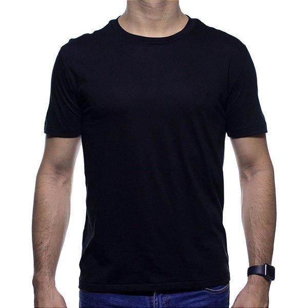 Camiseta de Malha VR Preta Básica em Algodão Pima