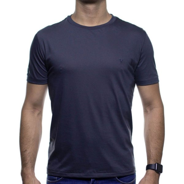 Camiseta de Malha VR Cinza Básica em Algodão Pima