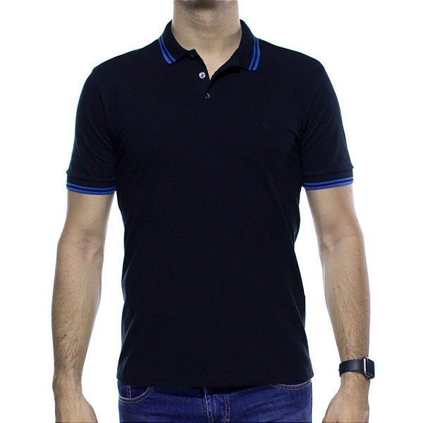 Camisa Polo VR Preta Com Detalhe Azul Na Gola