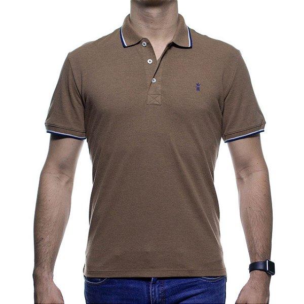 Camisa Polo Sergio K Marrom Com Detalhe Na Gola
