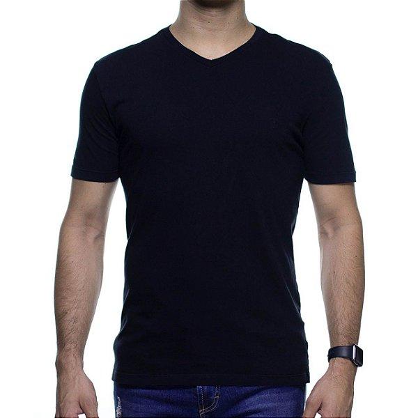 Camiseta de Malha VR Preta Basica Gola V 100% Algodão