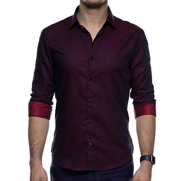 Camisa Social Calvin Klein Bordo Slim Fit