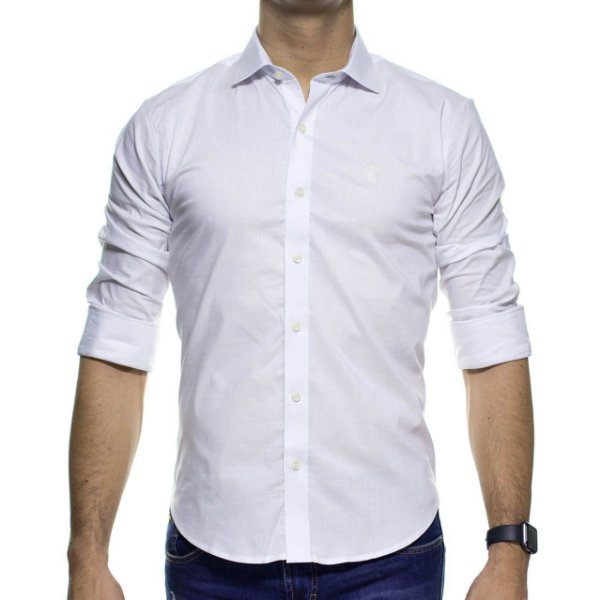 Camisa Social Sergio K Stretch Branca Basica Slim Fit