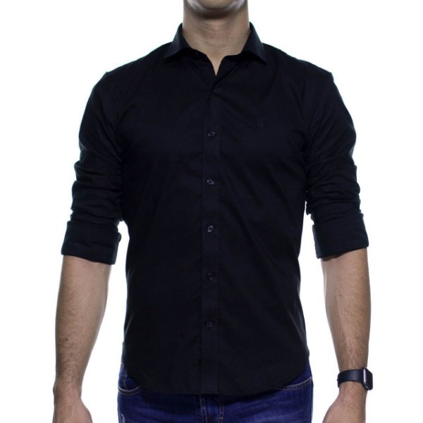 Camisa Social Sergio K Stretch Preta Basica Slim Fit