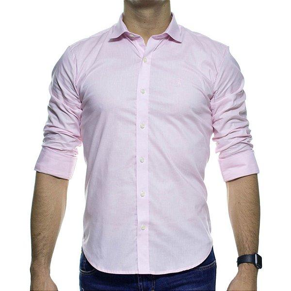 Camisa Social Sergio K Stretch Rosa Basica Slim Fit