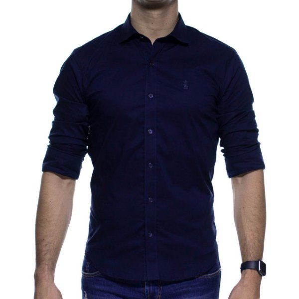 Camisa Social Sergio K Stretch Marinho Basica Slim Fit
