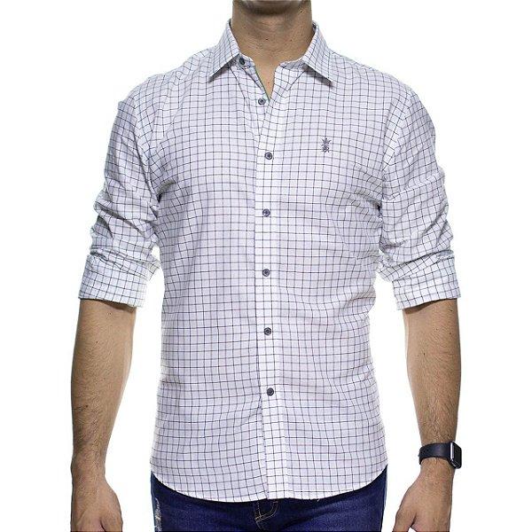Camisa Social Sergio K Branca Xadrez Slim Fit