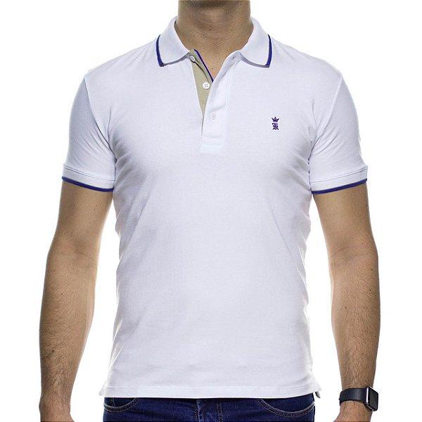 Camisa Polo Sergio K Branca Com Detalhe Azul Na Gola