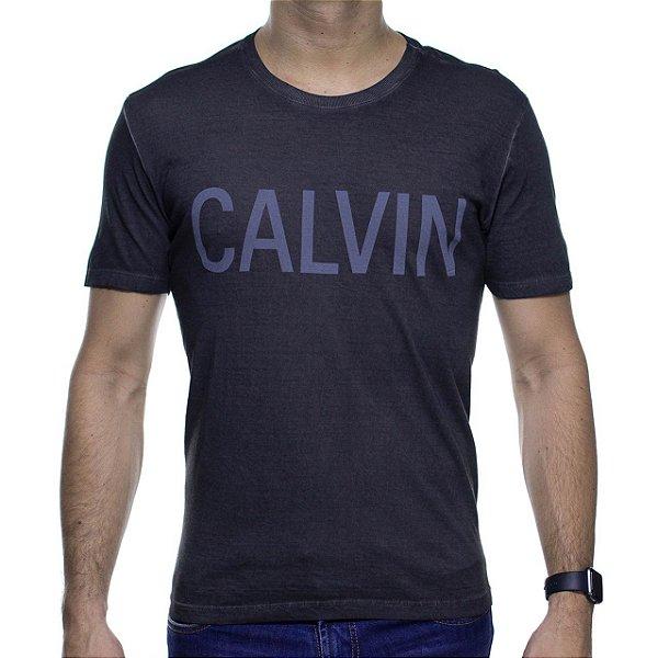 Camiseta Malha Calvin Klein Preta Destonada Com Estampa Cinza