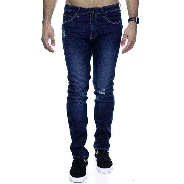 Calça Jeans Calvin Klein Destroyed Marinho Slim