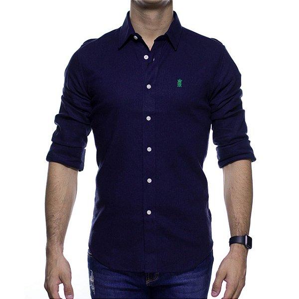 Camisa Social Sergio K Linho Rustico Marinho Slim Fit