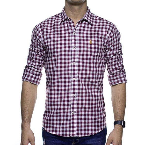 Camisa Social Sergio K Linho Xadrez Bordô Slim Fit